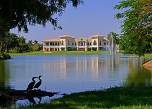 Lake and condos at Imperial Golf Estates in Naples, Florida