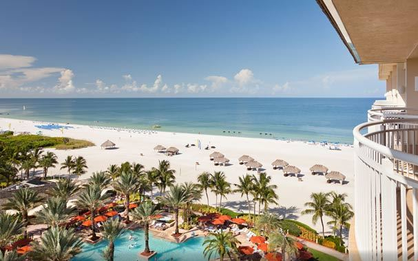 Marriott Marco Island view of sundeck and Gulf of Mexico. photo: www.marriott.com