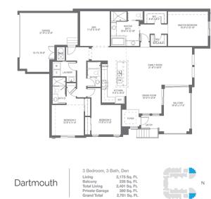 Dartmouth floorplan at Naples Square, Naples Florida new construction condos