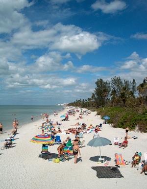 "white ""sugar sand"" beach at Naples, Florida"