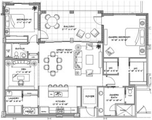 Naples Square Biltmore floor plan in Phase III is an updated and larger floor plan.