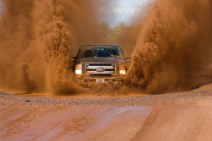 Truck testing in muddy water