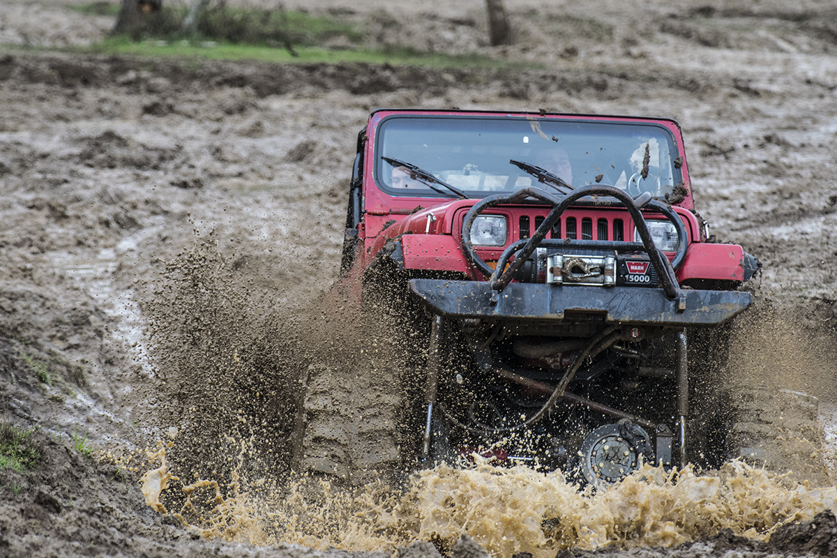 Jeep in deep mud hole