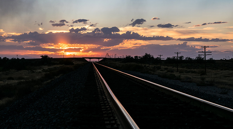 Rails at sunset in Bliss, Idaho