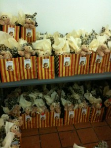 The Katie gift bags all lined up and ready to go