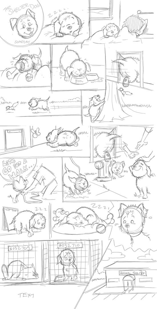 sketch the shelter dog