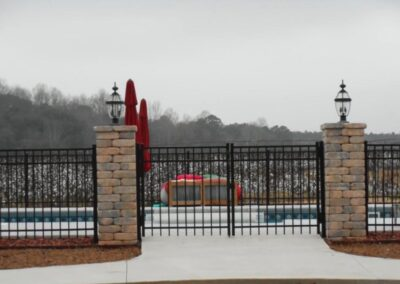 ornamental gated pool area