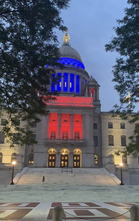 Update: Raimondo caves to public pressure and lights Rhode Island State House in red,white and blue!