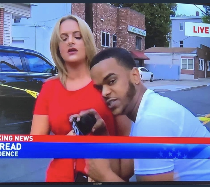 CH 10 live newscast interrupted by Providence thug with graphic language