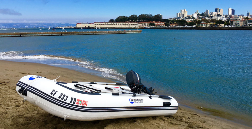 inflatable sport boat in San Francisco Bay