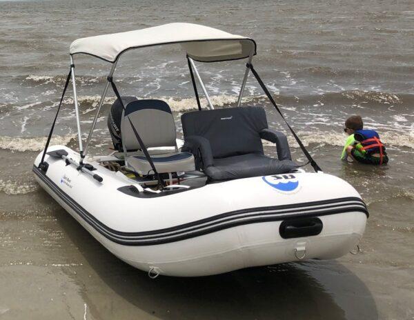 sport boat with bimini canopy top