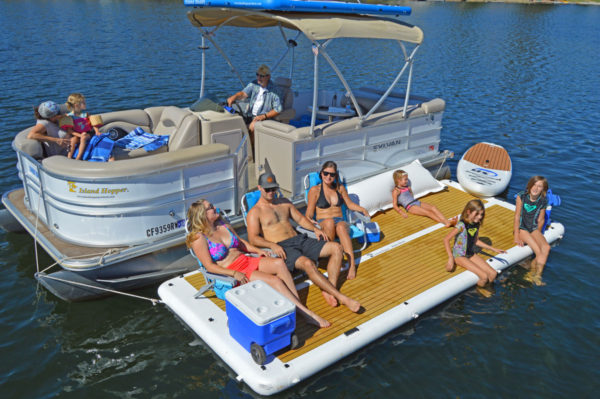 inflatable dock for pontoon boats