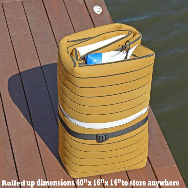 inflatable yacht dock swim platform rolled up