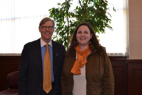 Jolie Justus with President Barney Forsythe during her visit to Westminster College.