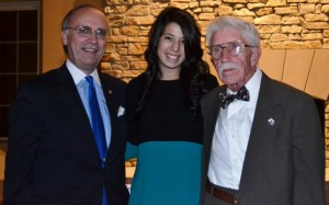 From left to right, Greg Willard '76, Andrea Zalis '17, and Dr. Bill Parrish at the 2014 President¹s Dinner.