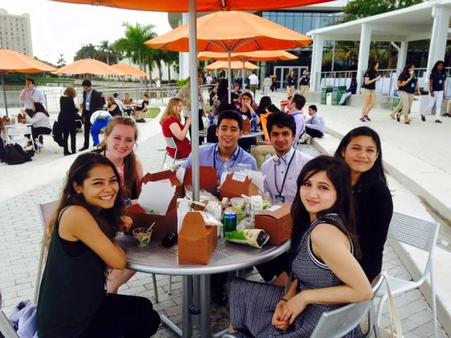 Westminster students share their conference lunch break together.