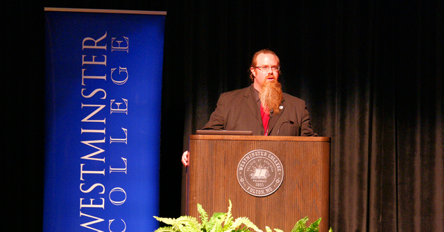 Dr. Tobias Gibson, Security Studies Program Director of Westminster College introducing 2015 Hancock Symposium