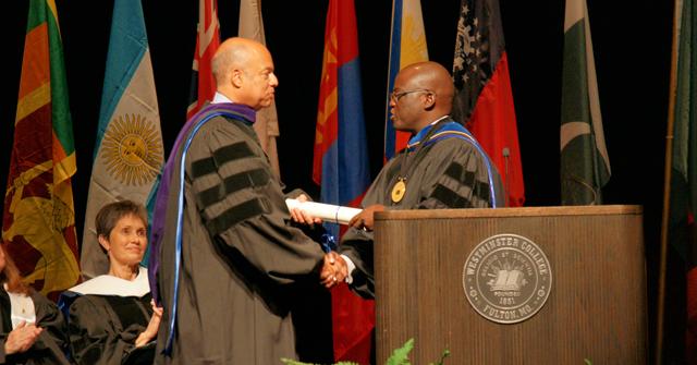 Dr. Benjamin Akande awarding honorary degree in law to U.S. Secretary of Homeland Security Jeh Johnson