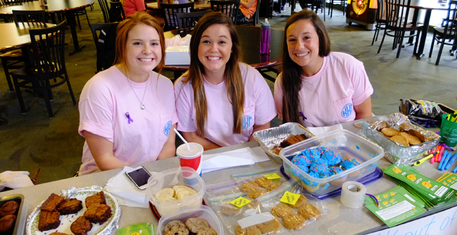 KKG suicide awareness bake sale Erin Devasto '16 ; Sierra Hammel '16 ; Katie Coker '18