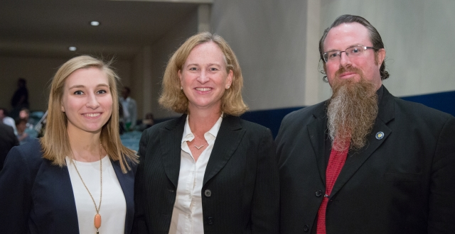 Claire Gibby '16 (left) with speaker Dr. Laura Donohue and Dr. Tobias Gibson.