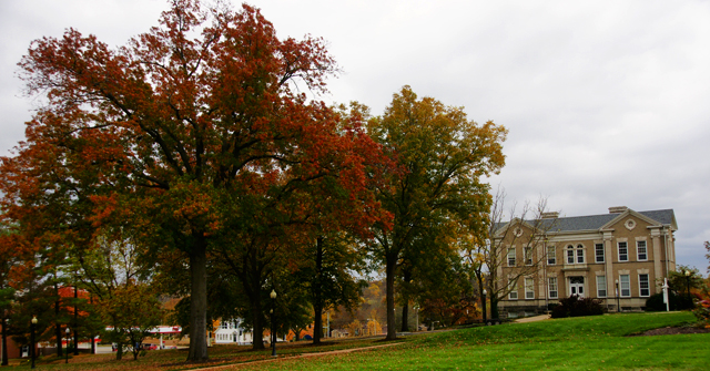 Fall colors are everywhere. Newnham Hall in the back.
