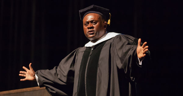 Dr. Benett Omalu delivers the Green Foundation Lecture on Sept. 15, 2016.