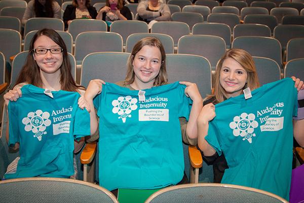 Students with t shirts, 2016 Hancock Symposium