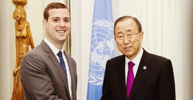 Mike Butera '11 (left) with U.N. Secretary General Ban Ki-Moon during the U.N. Disarmament Fellowship on Oct. 13, 2016