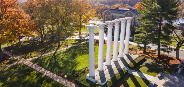 Aerial view of the Columns on Westminster's campus