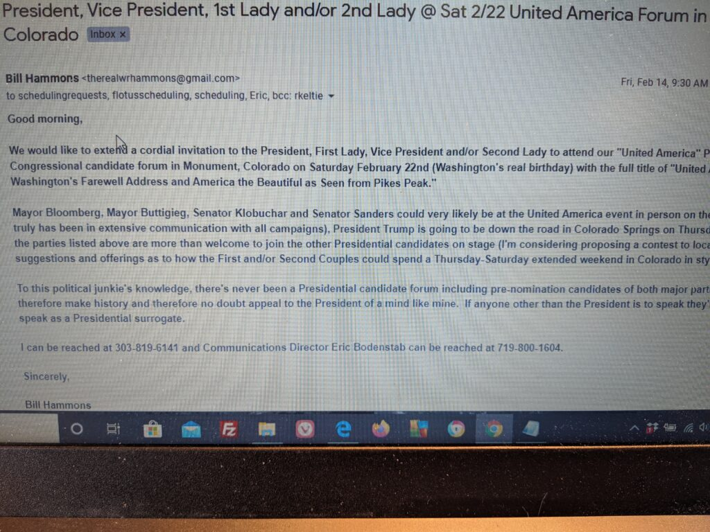 Email Hammons Sent To President, Vice President And First Lady Of United States Regarding 2020 United America Candidate Forum