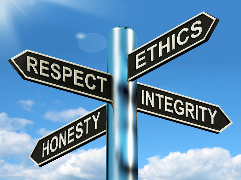 26064739 - respect ethics honest integrity signpost meaning good qualities