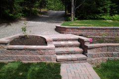 Interlocking brick retaining wall and landscaping north bay ontario 3