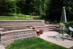 Interlocking brick retaining wall and landscaping north bay ontario