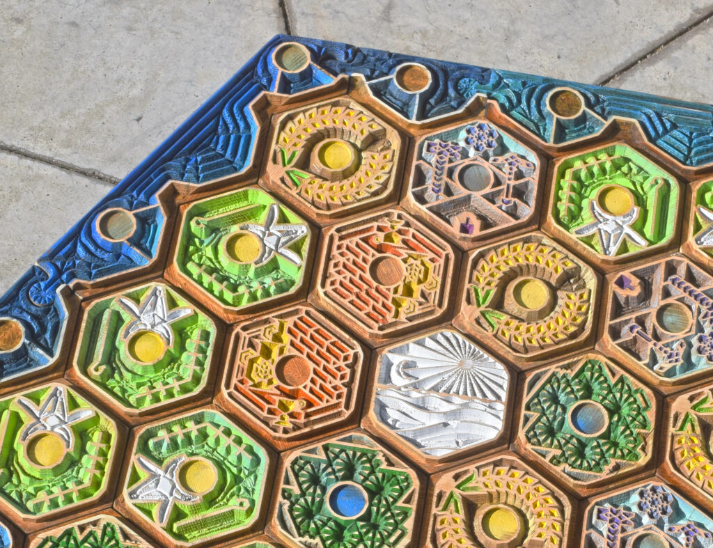 Artisanal Boards Live Edge Luxury Board Game Settlers of Catan Handmade Art Family Antique Collectable