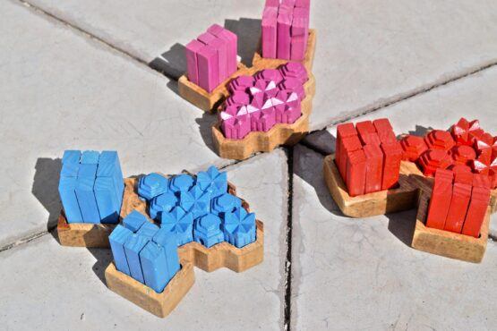 Handmade wooden board game settlers of catan game piece holder caddy