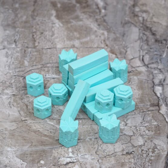 Catan Handmade Game Pieces Castles Settlements Cities Seafoam Blue