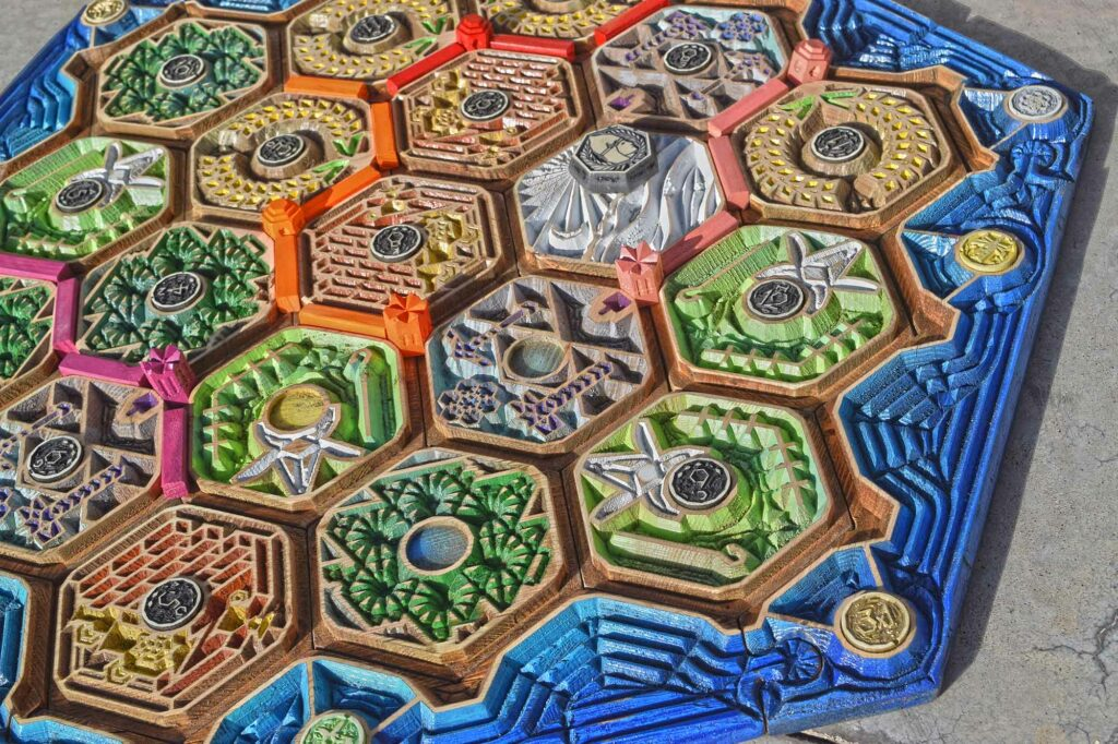 Settlers of Catan Wooden Hand Made CNC Board Game Kabinet Materia