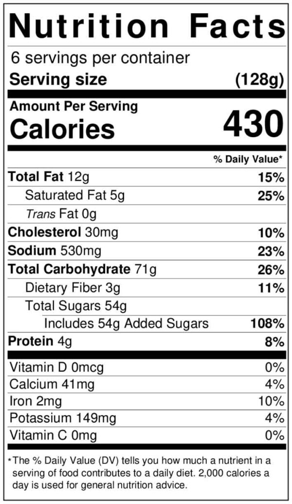 Nutrition Facts - Bill Knapp's Chocolate Celebration Cake