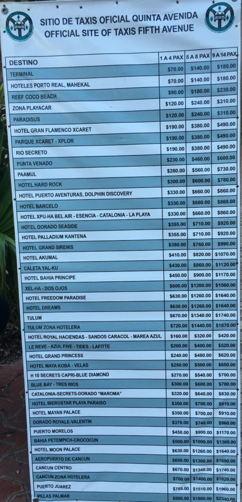Playa Del Carmen Taxi prices for going to hotels outiside of Playa