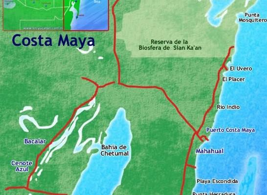 Mahahual map, costa maya