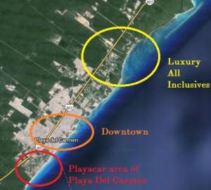 Playa del Carmen hotel map