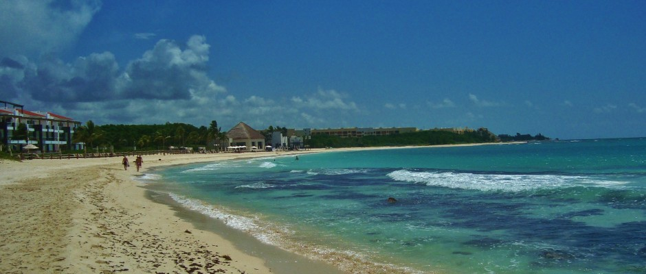 What beaches in Playa Del Carmen have less seaweed?