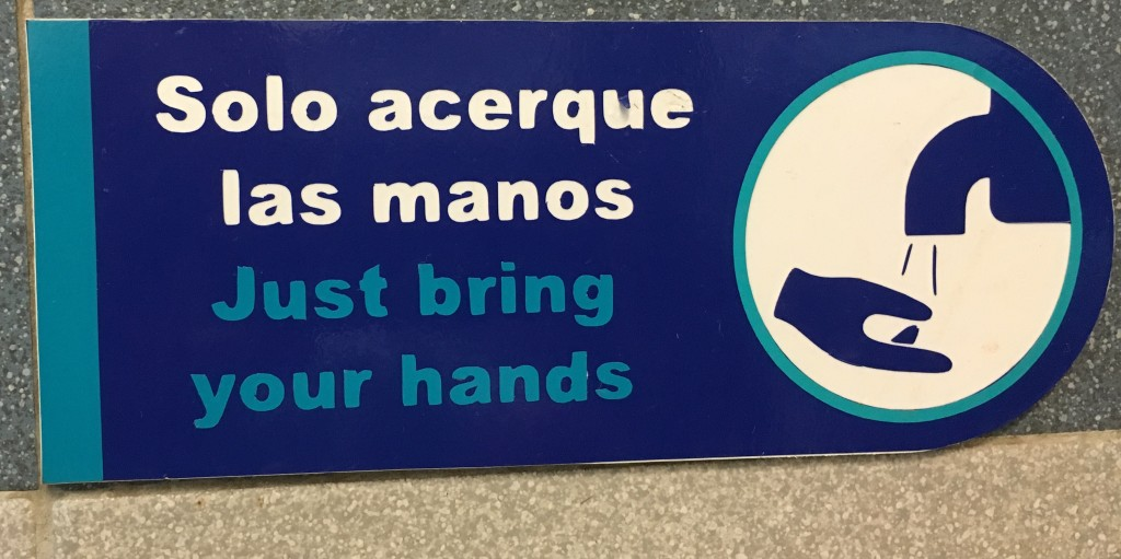 Funny hand wash sign in Mexico