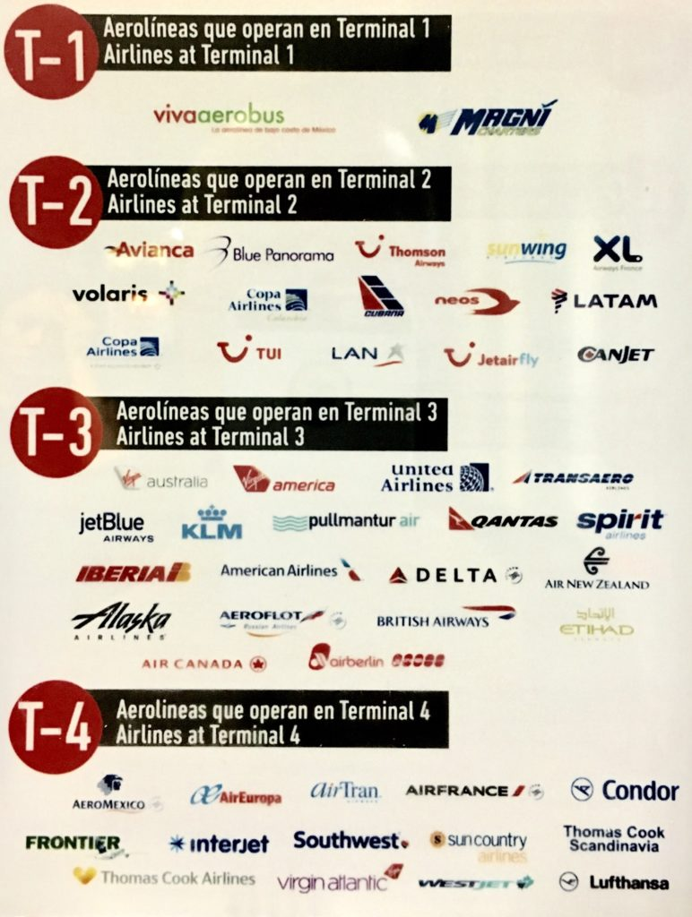 Cancun Airport airline terminals