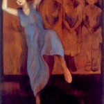 Woman in a blue dress dancing - pastel