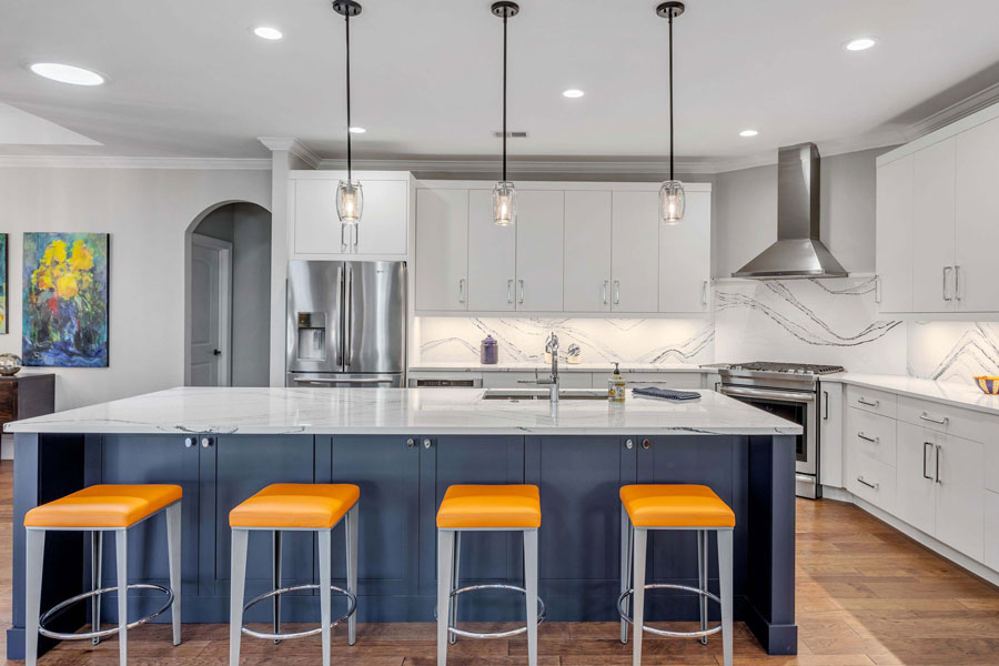 White and Blue Kitchen Designed by CDI Cabinets