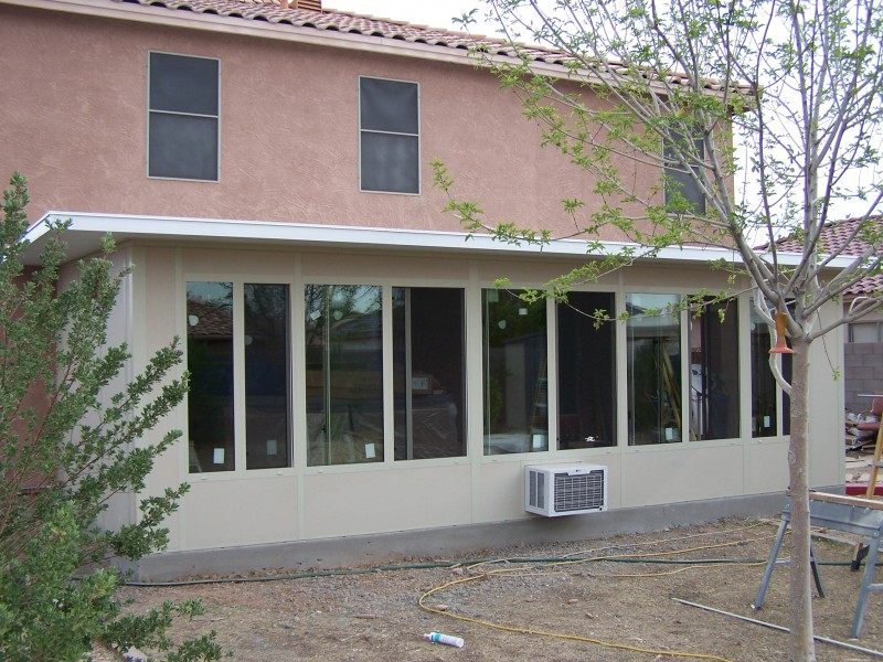 Modular sunroom addition with in-wall air condition unit. Phoenix Az
