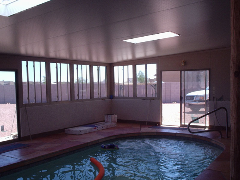 Pool enclosure with two roof skylights. Maricopa Arizona