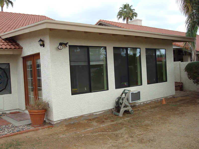 Family room addition with in-wall air condition unit. Scottsdale Arizona