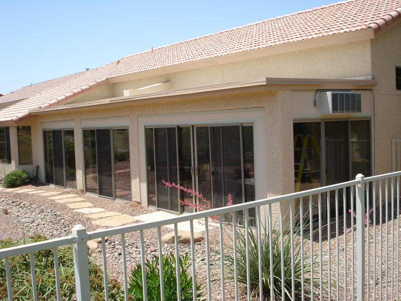 Using sliding glass door to convert a patio into a sunroom, Sun lakes Arizona